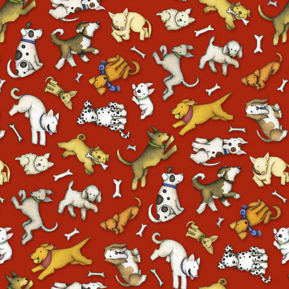 All You Need is Love and a Dog, Quilt Fabric by the Yard and Half Yard, Henry Glass, Dogs on Red