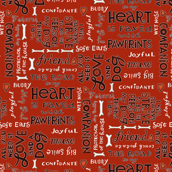 All You Need is Love and a Dog, Quilt Fabric by the Yard and Half Yard, Henry Glass, Words on Red