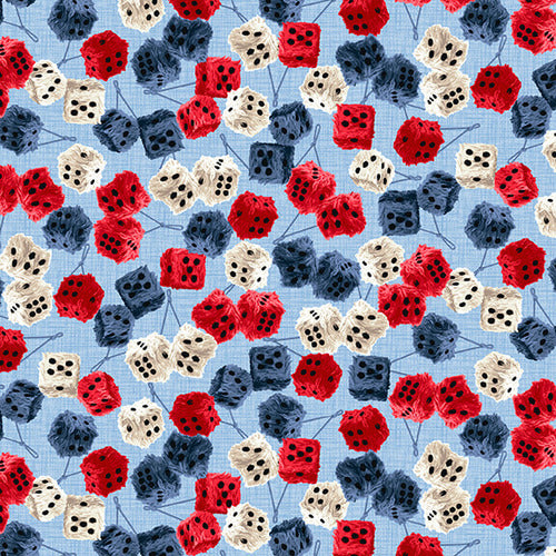 Patriotic American Muscle Furry Dice Fabric by the Yard, Rearview Mirror Dice