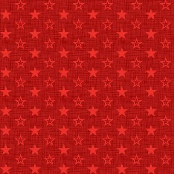 Patriotic American Muscle Mini Stars Fabric by the Yard and Half Yard, Red