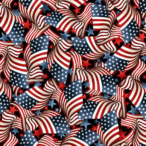 Patriotic American Flags, Fabric by the Yard and Half Yard, USA, Muscle Cars Collection