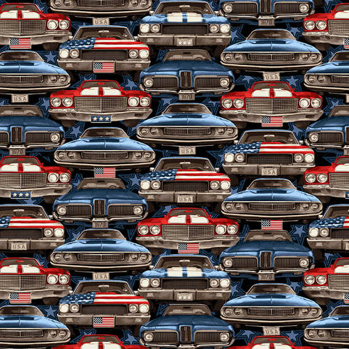 American Muscle Cars Patriotic On Coming Cars Fabric by the Yard and Half Yard