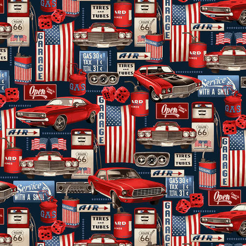 American Muscle Cars Patriotic Garage Collage Fabric by the Yard and Half Yard