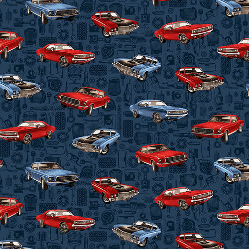American Muscle Patriotic Tossed Muscle Cars Fabric by the Yard and Half Yard