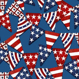 Blue Pennant Flags, American Spirit, Fabric by the Yard or Half Yard, Patriotic, American Flags
