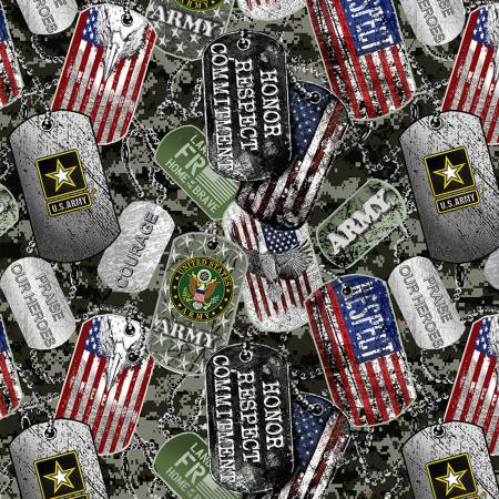 Military U. S. Army Dog Tags Fabric by the 1/4, 1/2 and Continuous Yards, Cotton