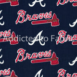 Atlanta Braves Fabric by the Yard or Half Yard, MLB, Cotton Fabric