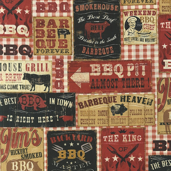 Spice BBQ Signs, Fabric by the Yard and Half Yard, Barbeque
