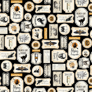 Bad Blood Labels Halloween Fabric by the Yard or Half Yard, Timeless Treasures