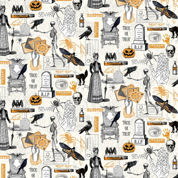 Bad Blood Motif Halloween Fabric by the Yard or Half Yard, Timeless Treasures