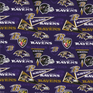 Baltimore Ravens Fabric by the Yard or Half Yard, NFL Cotton Fabric, Retro