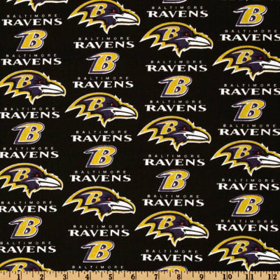 Baltimore Ravens Fabric by the Yard or Half Yard, NFL Cotton Fabric