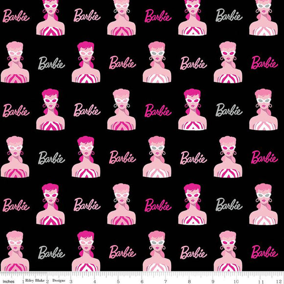 Barbie Fabric by the Yard or Half Yard, Main Black