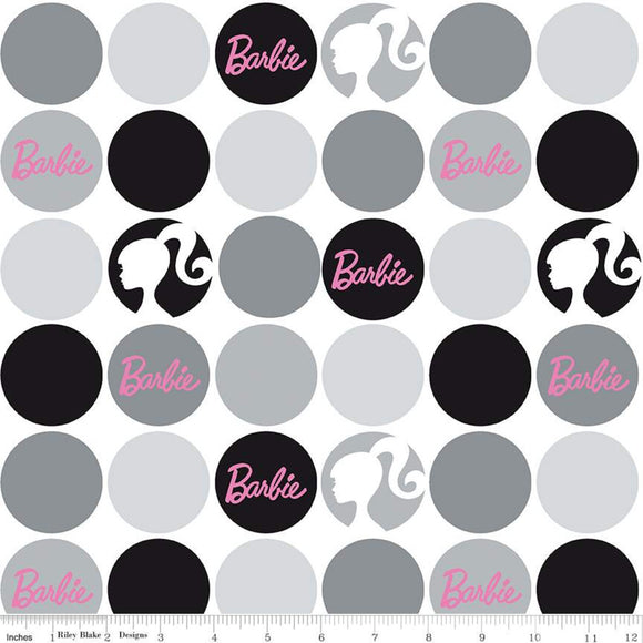 Pre-Order Barbie Fabric by the Yard or Half Yard, Polka Dots White