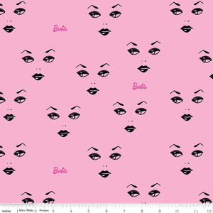 Barbie Fabric by the Yard or Half Yard, Faces Pink