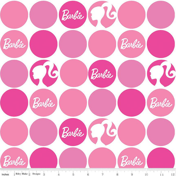 Pre-Order Barbie Fabric by the Yard or Half Yard, Barbie Polka Dots Pink