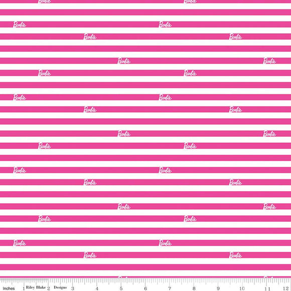 Barbie Fabric by the Yard or Half Yard, Stripes Pink