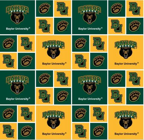 Baylor Bears Fabric by the Yard or by Half Yard, Baylor University, Block