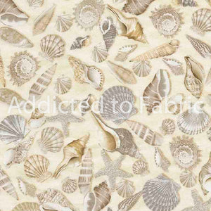 Shells, Seashells Fabric by the yard, half yard, Coastal, Beach Shells