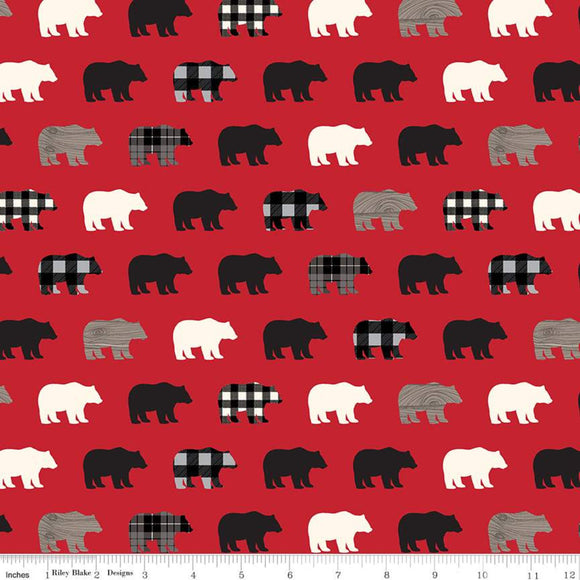 Wild at Heart Fabric by the Yard, Half Yard, Bears, Plaid, Red