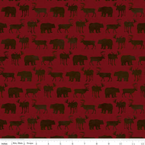 Send Me to the Woods Fabric by the Yard, Half Yard, Moose, Deer and Bears, Red