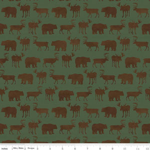 Send Me to the Woods Fabric by the Yard, Half Yard, Moose, Deer and Bears Green