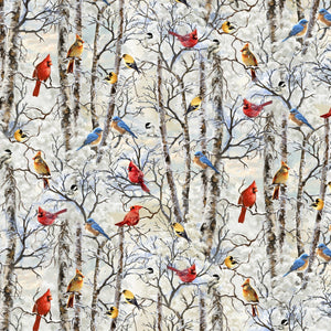 Birds on Snowy Branches Fabric by the Yard or Half Yard, Timeless Treasures