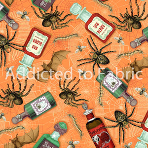 Halloween Fabric, Bad Blood Potions, Fabric by the Yard or Half Yard, Spiders