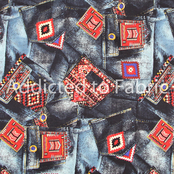 C. S. Shamash and Sons Fabric by the Yard, by the Half Yard, Blue Jean Pockets