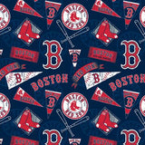 Boston Red Sox Fabric by the Yard or Half Yard, Licensed MLB, Cotton Fabric
