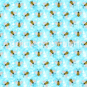 Bumble Bees, Fabric by the Yard or Half Yard, Light Blue, Bees with Glitter Wings