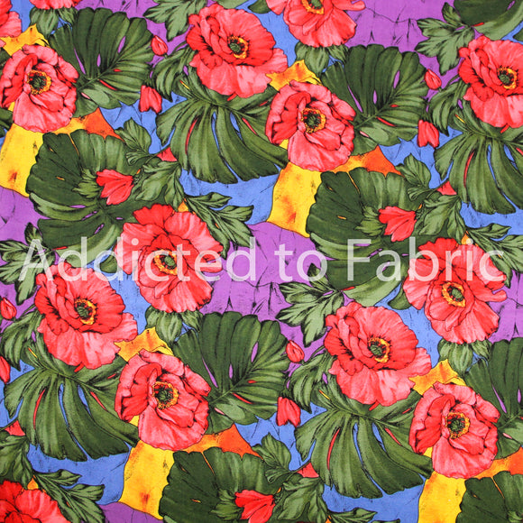 C S Shamash and Sons,Fabric by the Yard, Fabric by the Half Yard, Tropical, Hibiscus, Large Floral
