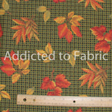 VIP Cranston, Autumn Leaves on Green Plaid, Fabric by the Yard, by the Half Yard, Fall