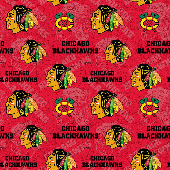 Chicago Blackhawks Fabric by the Yard, Red, NHL