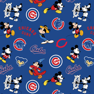 Chicago Cubs MLB Disney Mickey Mouse Fabric by the Yard or Half Yard