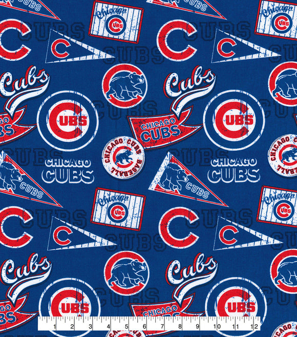 Chicago Cubs Fabric by the Yard or Half Yard, Vintage, Retro, MLB, Cotton Fabric,