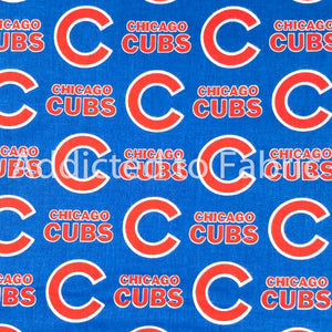 Chicago Cubs Fabric by the Yard, Half Yard, Licensed MLB Cotton, Red Print