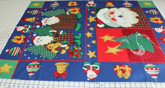 Santa Claus Panel Fabric with Ornaments by Susan Jill Hall, Springs Industries
