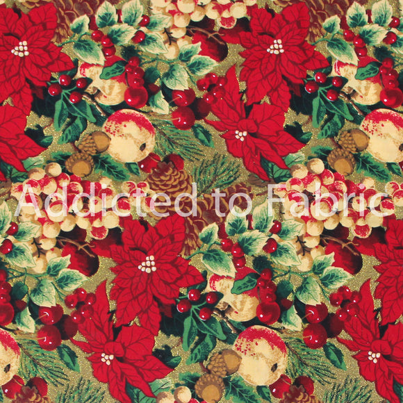 Classic Cottons, Christmas Fabric by the Yard, by the Half Yard, Red Poinsettia