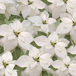 Timeless Treasures White Poinsettia Fabric by the Yard or Half Yard, Metallic Holiday Fabric