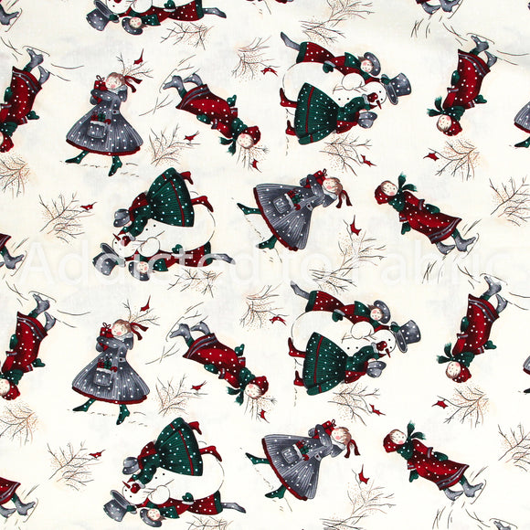 Northcott Christmas Fabric by the Yard, by the Half Yard, Girls Playing in the Snow