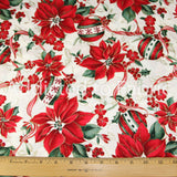 Christmas Poinsettias Fabric by the Yard, by the Half Yard, R.E.D. International