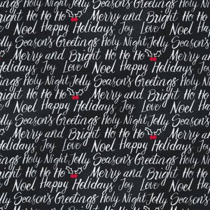 Seasons Greetings Christmas Fabric by the Yard or Half Yard, Black, Timeless Treasures