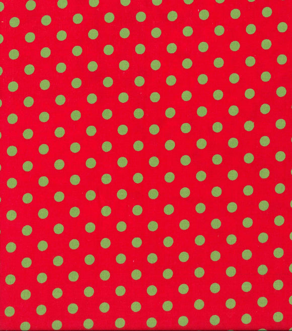Christmas Fabric by the Yard or Half Yard, Christmas Red with Green Polka Dots