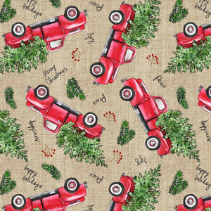 Christmas Red Truck Fabric by the Yard, by the Half Yard, David Textiles, Pickups