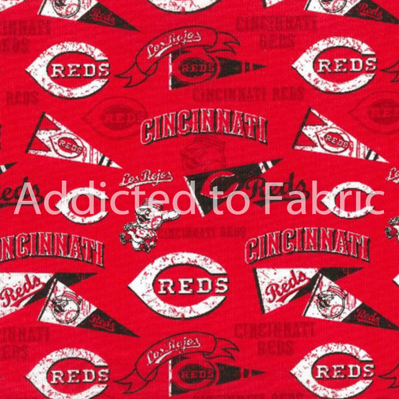 Cincinnati Reds Fabric by the Yard, Half Yard, MLB Cotton Fabric, Baseball, Retro