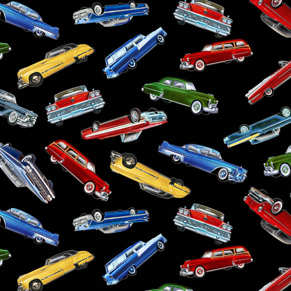 Classic Cars Fabric by the Yard or Half Yard, Take the Scenic Route