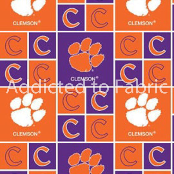 Clemson University Tigers Fabric by the Yard and Half Yard