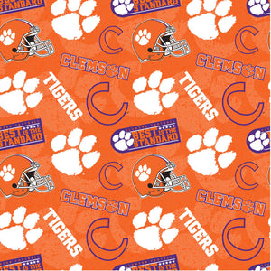 Clemson Tigers Fabric by the Yard and Half Yard, Licensed NCAA Fabric, University