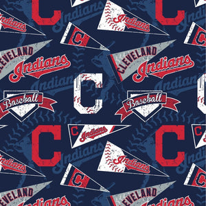 Cleveland Indians Fabric by the Yard or Half Yard, Licensed MLB Cotton Fabric, Vintage